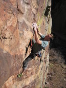 Rock Climbing Photo: Scott Bennett digging deep near the middle of the ...
