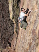 Rock Climbing Photo: Rob Kepley nearing the end of the run out just bef...
