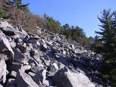 Rock Climbing Photo: Talus field looking right from below.  So much pot...