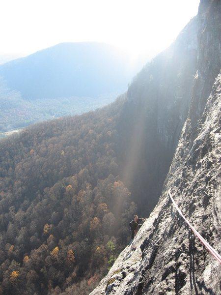 Rock Climbing Photo: Paul following the 2nd to last pitch near sunset. ...