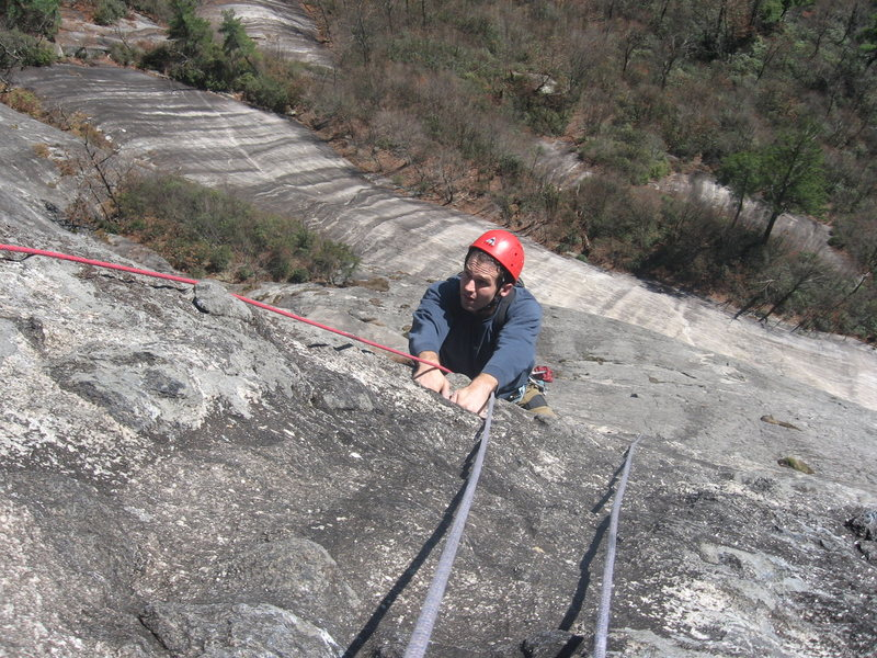 Rock Climbing Photo: Timmy with a bit of air below...top of the Cresent...