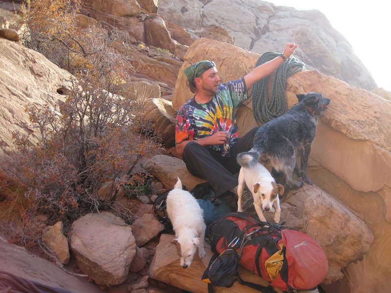 """Pat with the dogs at the start of the day.No dog problems here as we are the only climbers and dogs in the whole of the area. I guess most of the Colorado climbers and their dogs are at Shelf Road or similar ? Some Barking some shouting """"take""""..."""