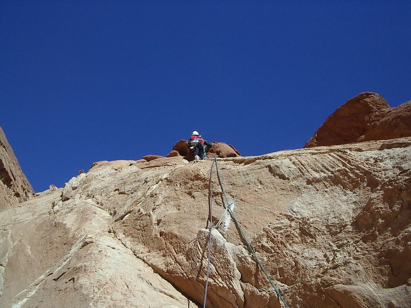 Rock Climbing Photo: Higher on second pitch .. photo Pat Moe