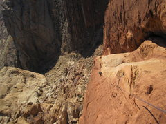 Rock Climbing Photo: Looking down pitch five!