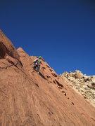 Rock Climbing Photo: Pat starting the sixth pitch.