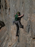 Rock Climbing Photo: Scott karate-kicking his way to a flash (sans roof...