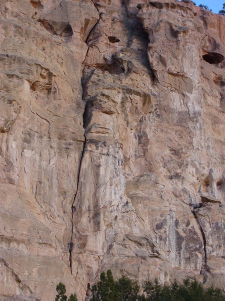 The New Frontier (5.10) opened up a new grade of Malpais difficulty in 1977.  A slightly overhanging fist section low down repulsed several early attempts.