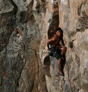 Rock Climbing Photo: Frank happy about the no hands rest in the  flake.