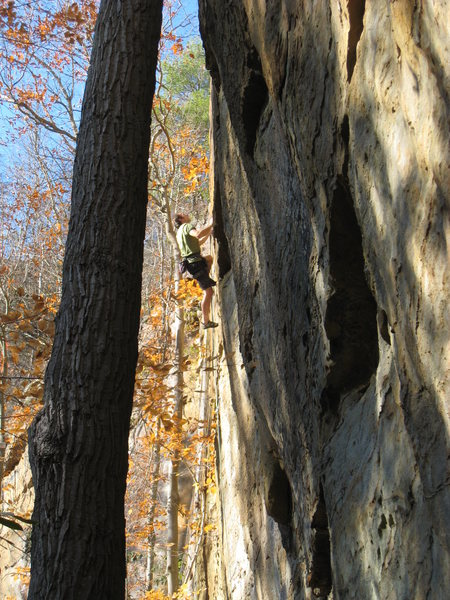 Rock Climbing Photo: Beginning the long journey up Orange Juice, near t...