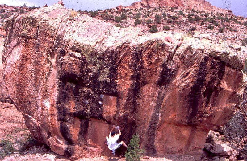 AH bouldering along Long Park Road, Paradox Valley, Naturita Area.