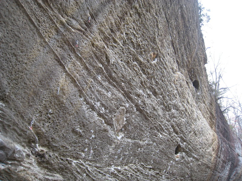Rock Climbing Photo: The Dark Side detail.  Routes shown from L --> ...