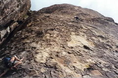 Rock Climbing Photo: MD and Michael Hernandez on Divine Wind. 1998?