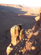 Rock Climbing Photo: Ben Kiessel rapping in to the base of Trisstin's T...