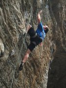 Rock Climbing Photo: Working up the strenuous dihedral.