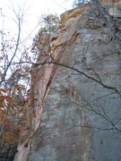 Rock Climbing Photo: The upper bit of super slab leaves the dihedral & ...