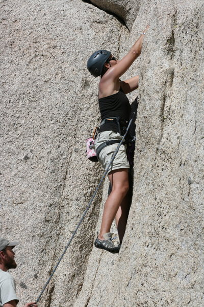 me on lead on a crack at Committee Crag<br>
