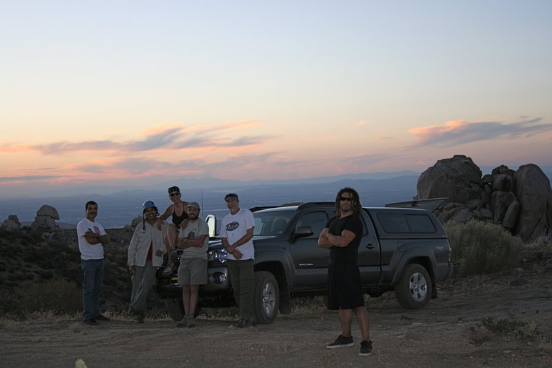 Group shot at sunset with Roger in front