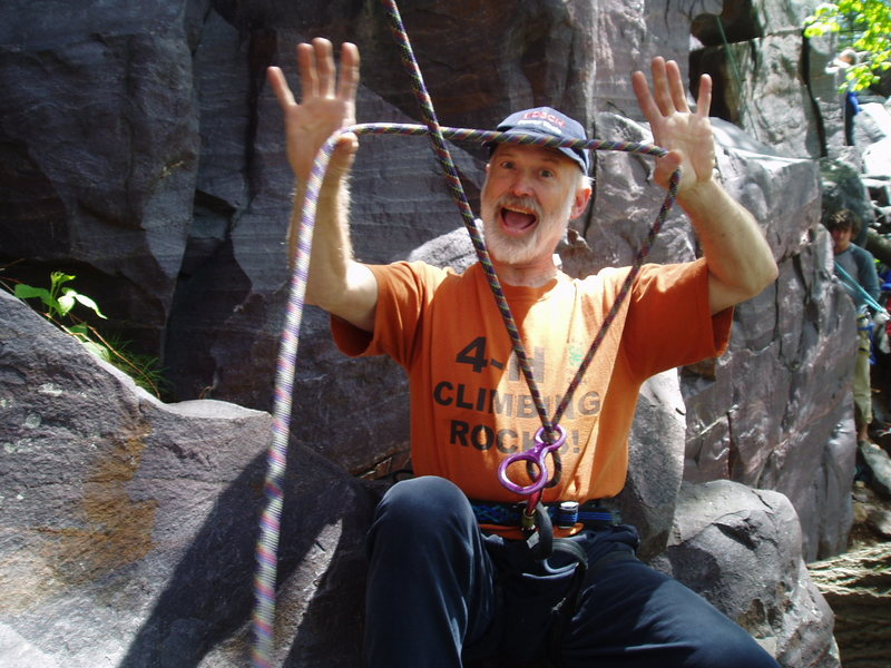 "Jeff says, ""you lead Birch Tree, I'll belay.""  He is founder of the Devil's Lake Trial and Error School of Rock Climbing whose motto is ""Place well thy protection lest the earth rise up and smite thee..."""