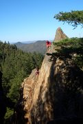 Rock Climbing Photo: Brett Hayes cleaning Shattered Slab 5.10a. Photo b...