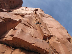 Rock Climbing Photo: Looking up at the first pitch of Mogul Emperor.  T...