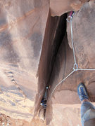 Rock Climbing Photo: Looking down at Jeff Widen on the third pitch of M...