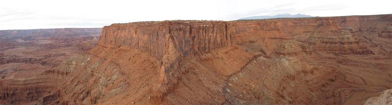 Looking back at Canyonlands Overlook and the rappel point from the summit of Attila's Thumb.<br> <br> The overlook is on the left edge of the mesa and the rappels are at the point closest to the camera.