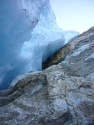Rock Climbing Photo: Looking up at the rap down the side of the icefall