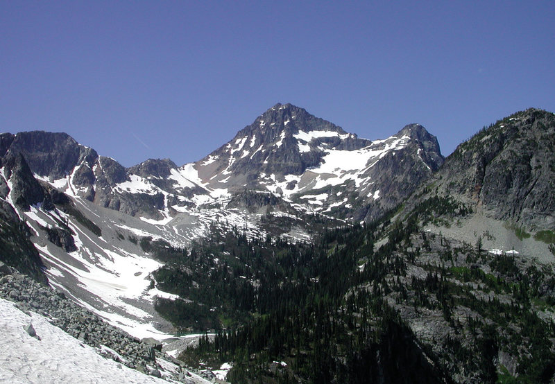 Black Peak on the approach.  S Ridge is the left skyline, NW Ridge is the right skyline.
