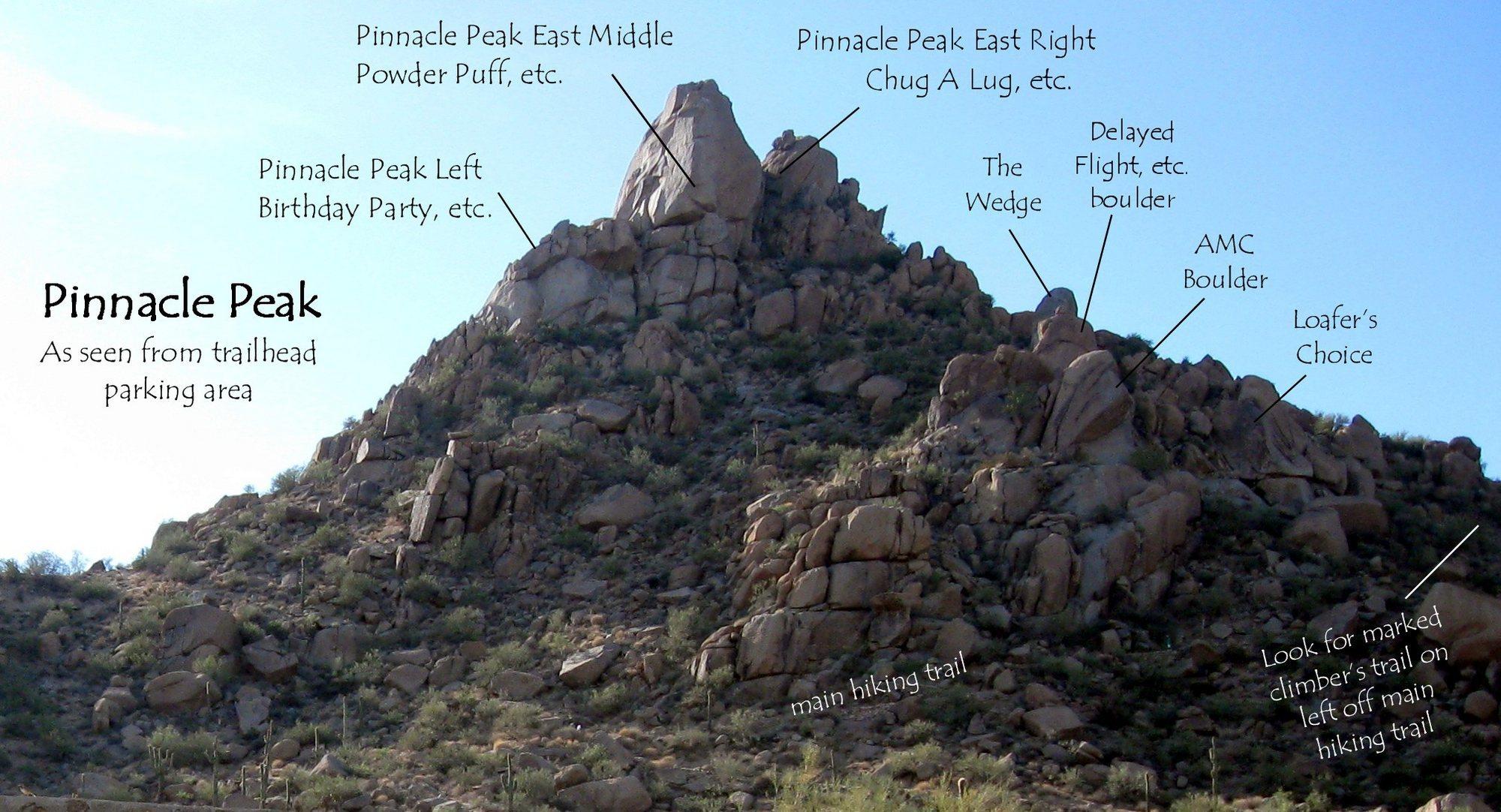 Pinnacle Peak as seen from the trailhead parking area