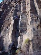 Rock Climbing Photo: Shirley leading Patent Leather Pump.