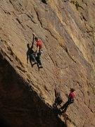 Rock Climbing Photo: Joe casts off on the heady start.