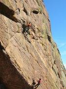 Rock Climbing Photo: Joe catching the jug at third clip.