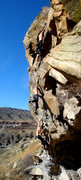 Rock Climbing Photo: An onsight free solo of the route... no more bolt ...