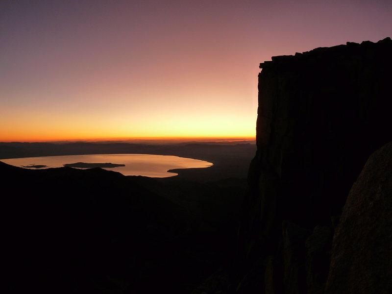 Rock Climbing Photo: Sunrise over mono lake and the Third Pillar of Dan...
