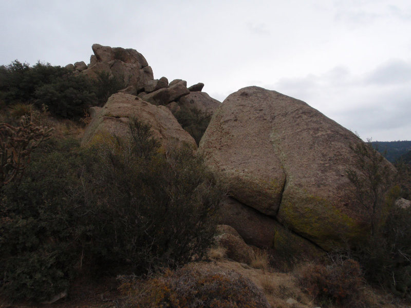 Close up of downhill face of the Mantle Boulder, not much to look at.