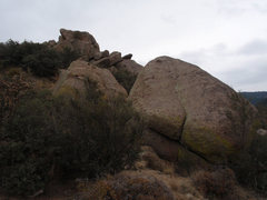 Rock Climbing Photo: Close up of downhill face of the Mantle Boulder, n...