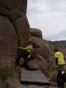 Rock Climbing Photo: Carolyn Parker trying to figure out what to do wit...