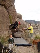 Rock Climbing Photo: Carolyin moving up with a heel hook foot wedge thi...