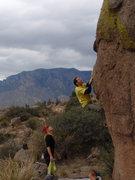 Rock Climbing Photo: Chris E. eyes up the big move to the large knob.