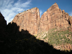 Rock Climbing Photo: The route climbs the far left side of the wall. Th...