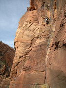 Rock Climbing Photo: Pitch 5, steep climbing above a short tension trav...
