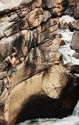 Rock Climbing Photo: Me reaching for the crazy sloper