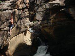 Rock Climbing Photo: Jason stretching on the sloper!