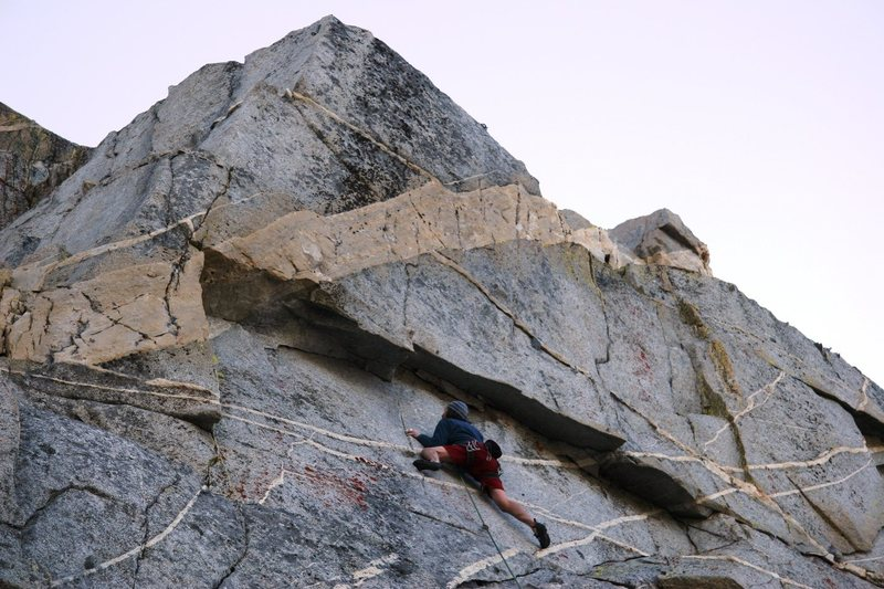 Rock Climbing Photo: Making the crux moves on Tumbler, 5.11a