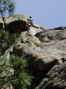 Rock Climbing Photo: Just above the crux move. Above this the angle eas...