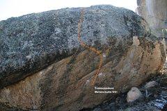Rock Climbing Photo: Transcendent Melancholia V4+ Topo