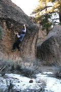 Rock Climbing Photo: Making the reach to the hold at the lip on Dink, V...
