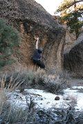Rock Climbing Photo: Dink's long reach to the hueco