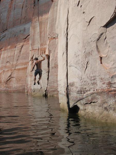 Rock Climbing Photo: Rappelling Lake Powell, UT