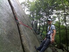 Rock Climbing Photo: First Anchor built on own gear Red Rock, Glo, MA i...